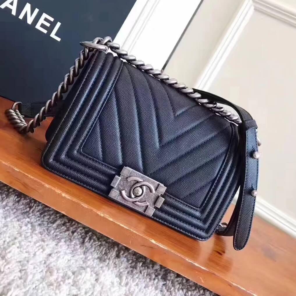 d29e6d613821 Chanel Chevron Grained Calfskin Small Boy Flap Bag Black 2017 ...