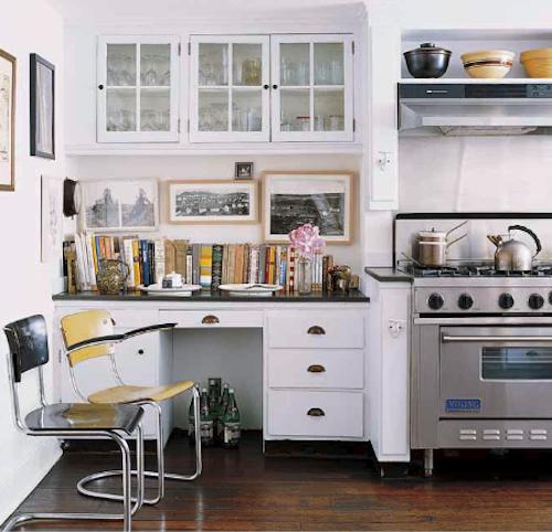 office in kitchen. desk area in kitchen.with glass cabinet storage above. office kitchen n