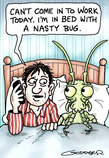 Can T Come To Work Today I M In Bed With A Nasty Bug Funny Cartoon