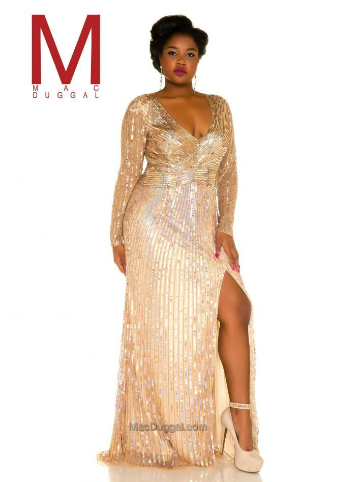 f84bf2b210212 Sequined Plus Size Prom Dress