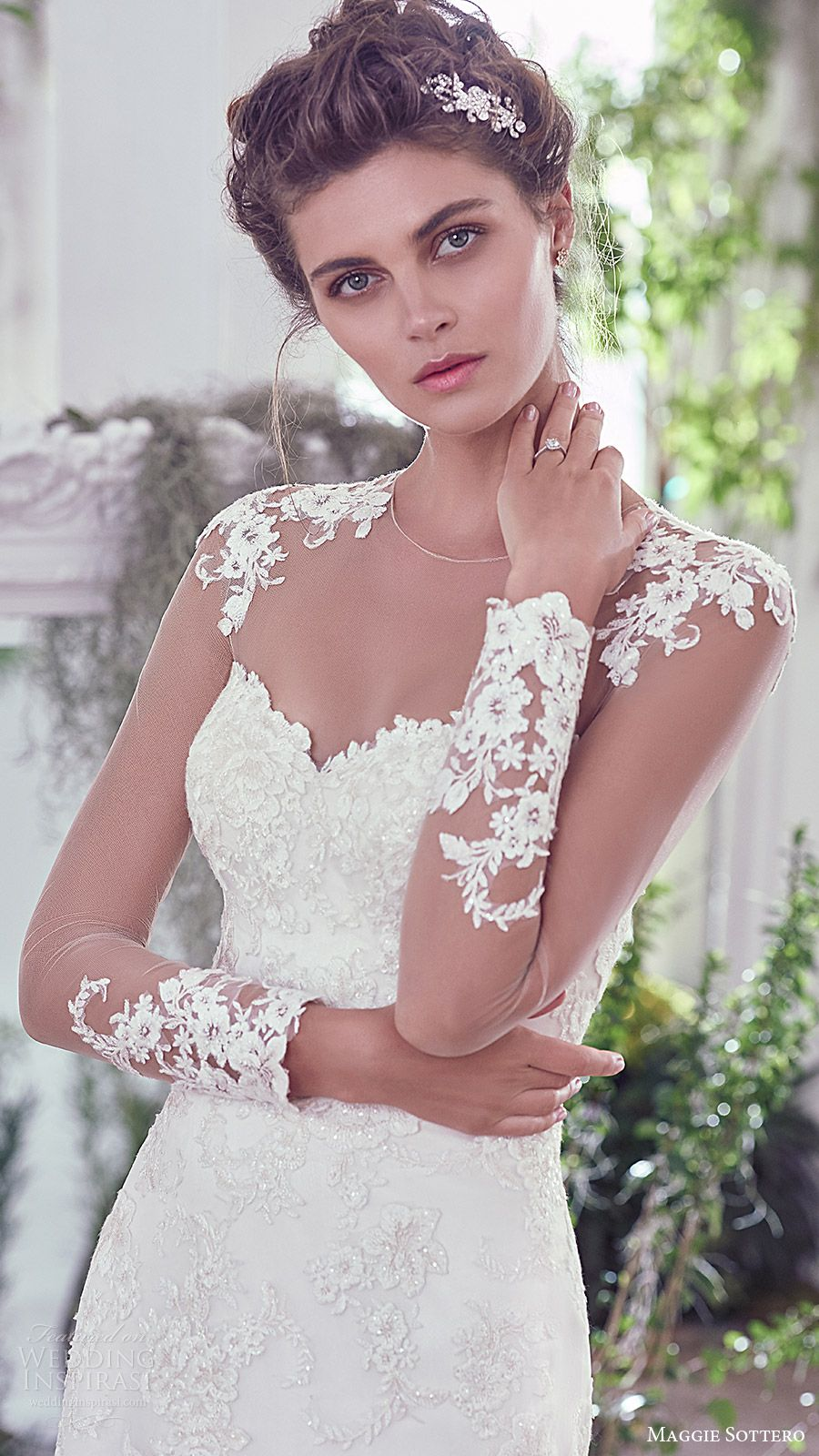 47978c1c52e long sleeves sweetheart illusion jewel neck lace sheath wedding dress  (rosaleigh) zfv train