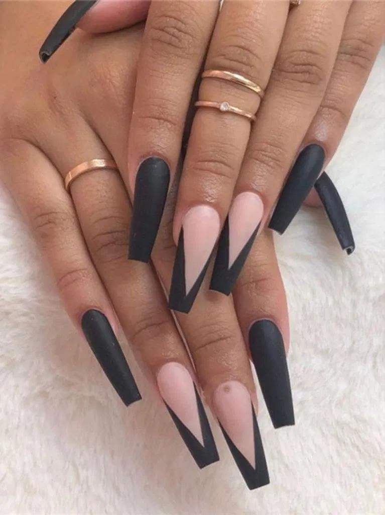 29 Elegant Black Nail Art Designs Ideas 8 In 2020 Coffin Nails Long Long Acrylic Nails Black Acrylic Nails