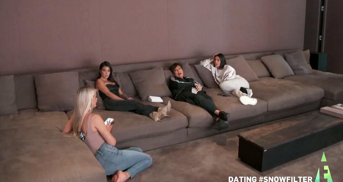 Giant Couch Fit For The Whole Family Seen On The Tv Show Keeping Up With The Kardashians And Kim A In 2020 Khloe Kardashian House Kim And Kanye House Kardashians House