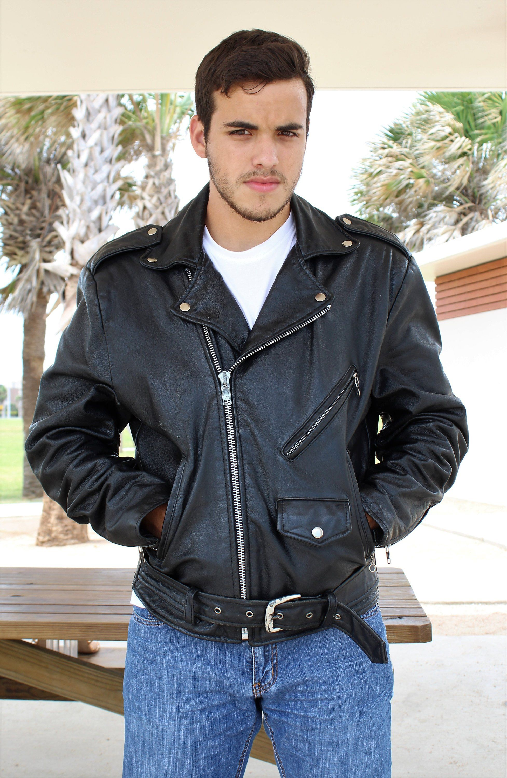 Vintage leather biker jacket by Open Road Wilsons Vintage