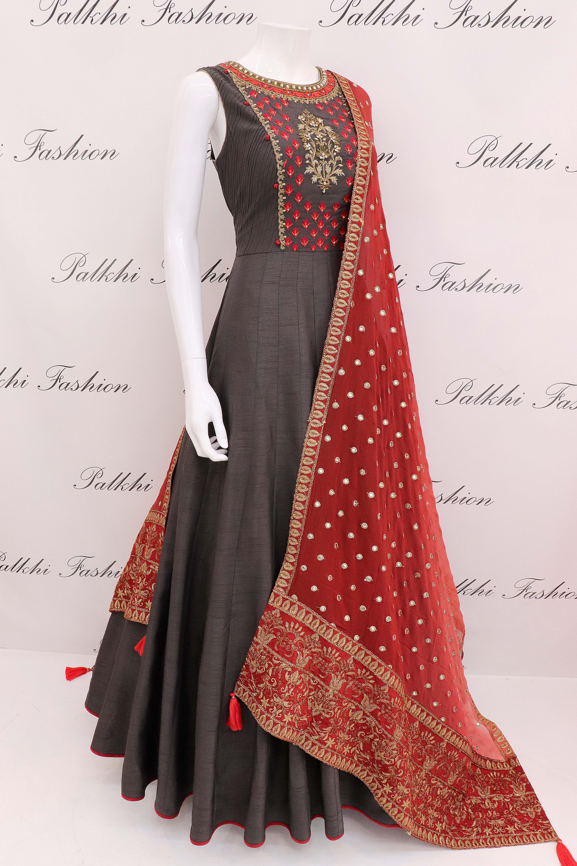 Designer Dark Grey Silk Outfit With Handwork Duppta Silk Outfit Indian Outfits Indian Designer Outfits