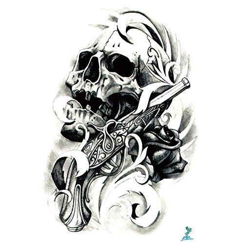 Yeeech Skull Reborn Series Temporary Tattoo Sticker Gun Rose Design