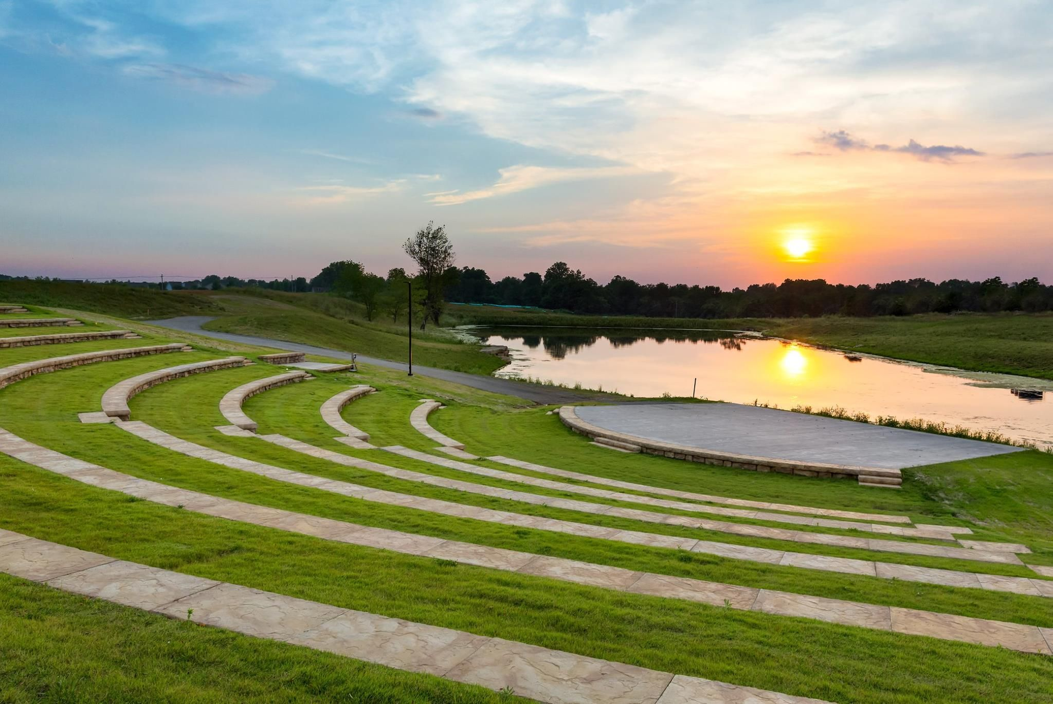 Amphitheater at sunset. Landscape architecture design