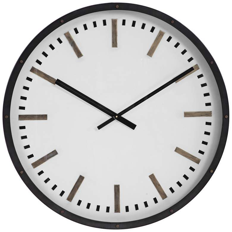 Uttermost Fleming 31 3 4 Black And White Modern Wall Clock 78p78 Lamps Plus In 2020 Wall Clock Modern Wall Clock Large Wall Clock