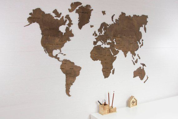 World Map Wall Art, Wooden World Map, World Map Poster, World Map