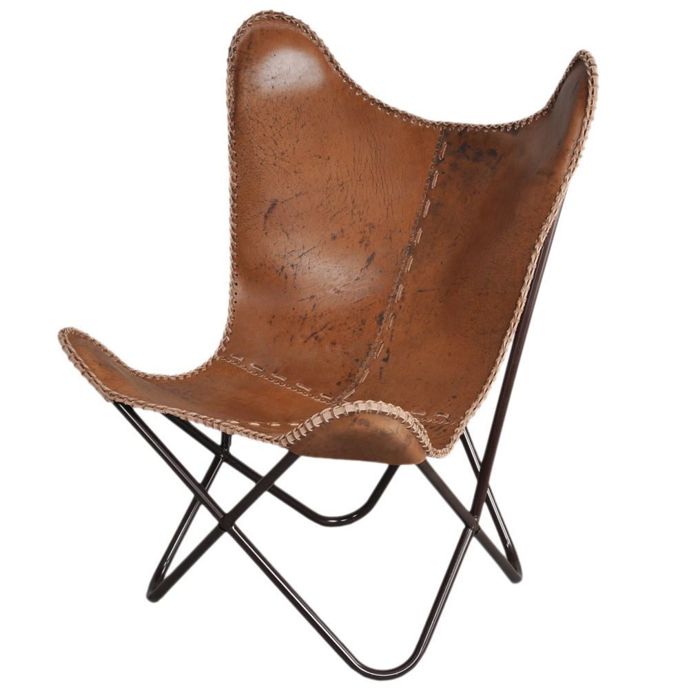 Anti Brown Leather Butterfly Chair   Overstock.com Shopping   Great Deals  On Horizon