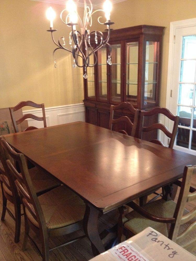 national of mount airy 9 piece dining room set (cherry wood
