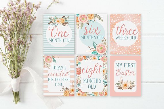 3723924e84a Printable Baby Girl Milestone Cards - Baby s First Year Milestone Cards -  Boho Baby Shower Gift Idea