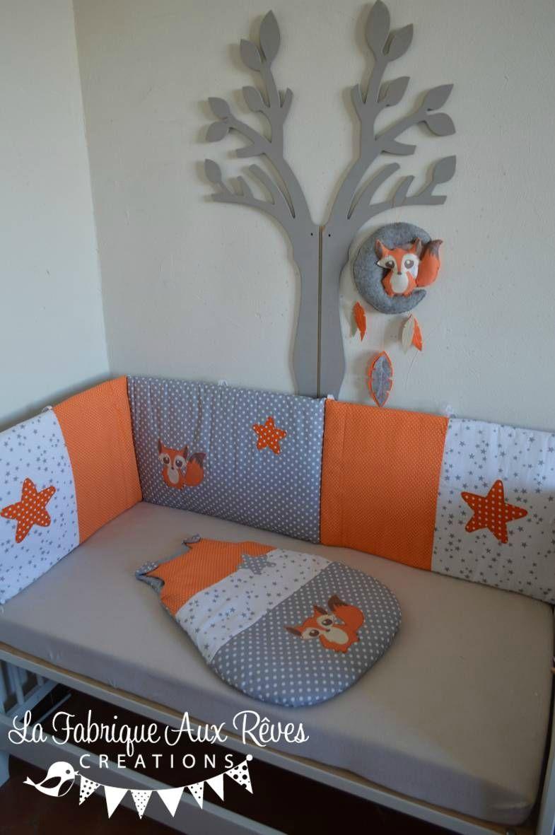Linge lit et décoration bébé renard gris blanc orange Tour de lit
