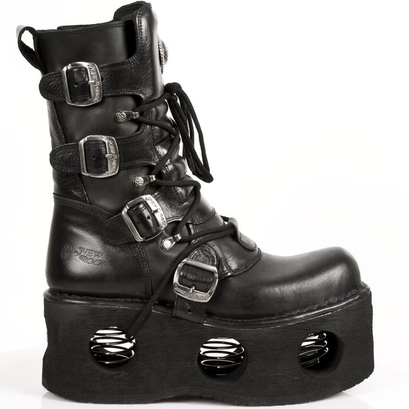 Black leather goth boots w springs boots goth boots