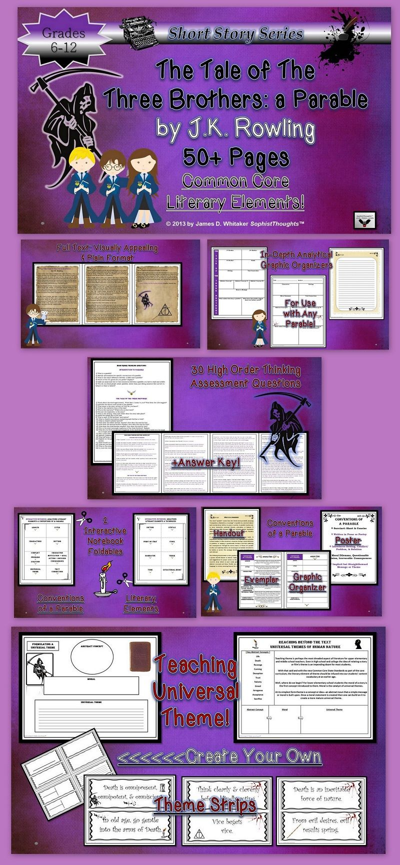harry potter and the sorcerers stone novel unit bundle student harry potter the tale of the three brothers lesson teaching parables