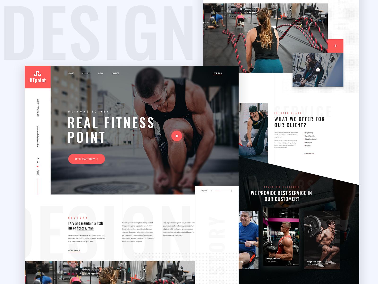 Gym Landing Page Gym Website Landing Page Fitness App Design