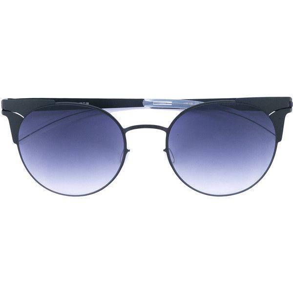 Mykita LULU sunglasses ($520) ❤ liked on Polyvore featuring accessories, eyewear, sunglasses, black, mykita, mykita glasses, mykita sunglasses and mykita eyewear