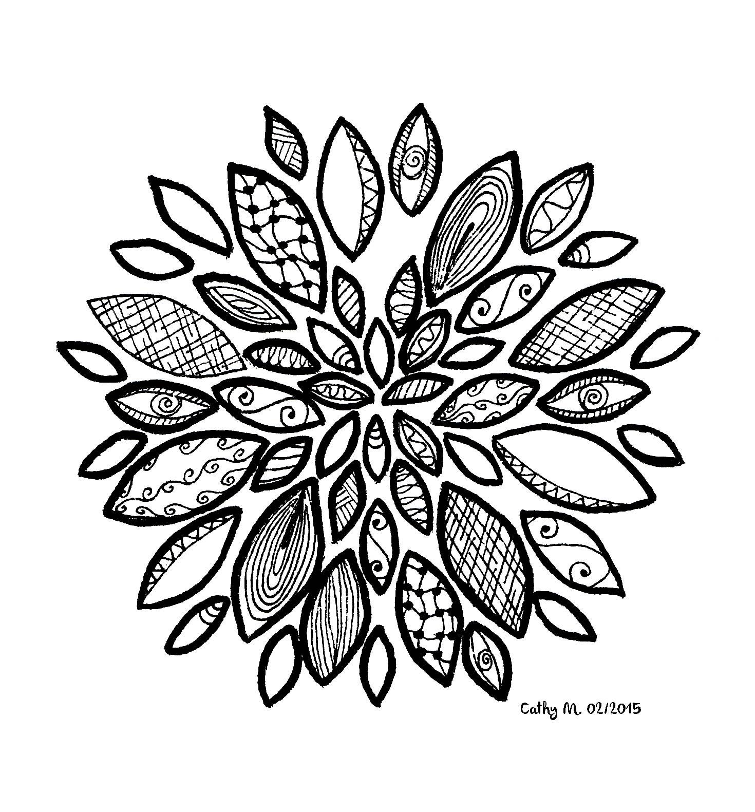 free coloring page coloring zentangle by cathym 20 imaginary flower - Zentangle Coloring Pages For Adults