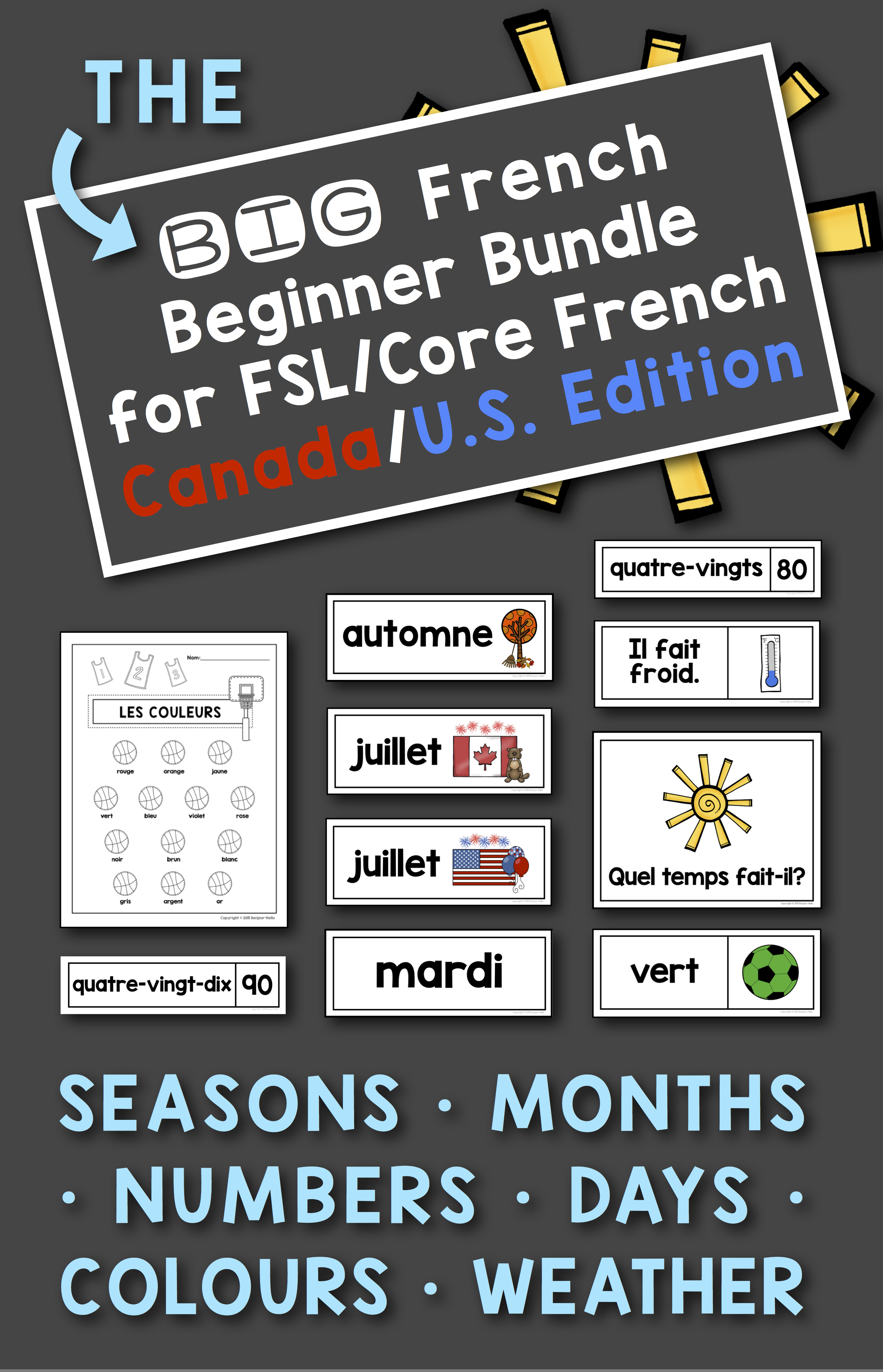French Flash Cards Numbers Colors Colours Weather