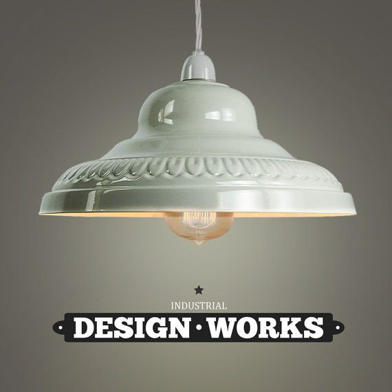 Industrial lighting ceiling light with beautiful metal lampshade finished in gloss cream finish metal ceiling pendant