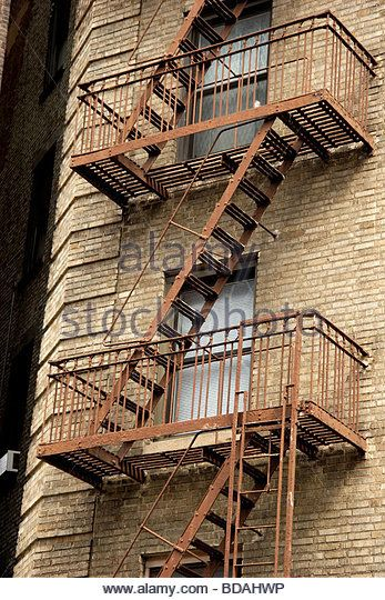 Exterior Metal Fire Escapes On Apartment Building, Greenwich Village,  Manhattan, New York
