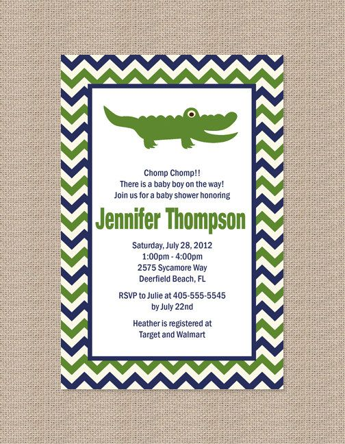 Alligator Baby Shower Invitation Green