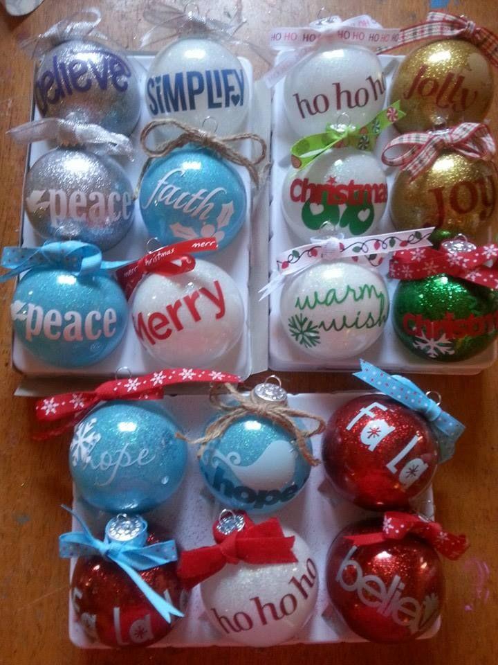 Glitter ornaments! A little hair spray, fine glitter and