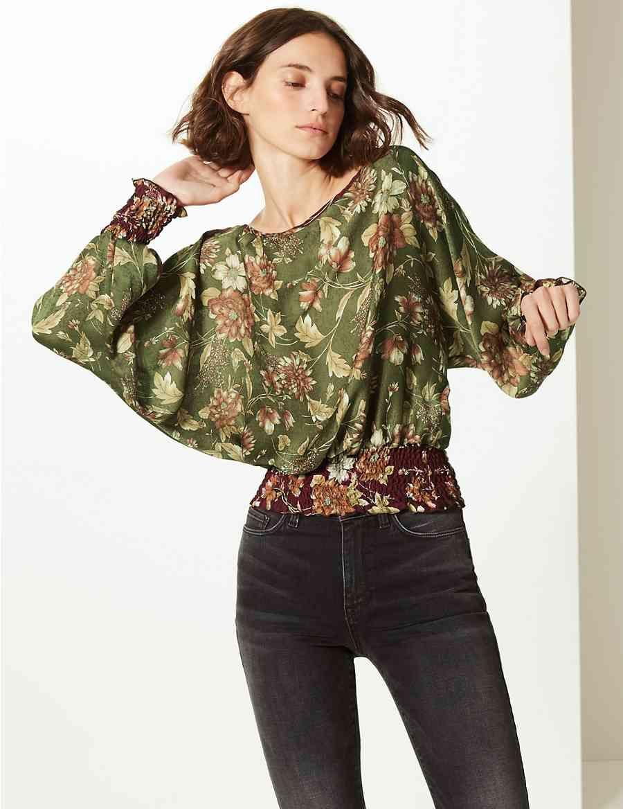 c6a7be11a83b4 Floral Print Slash Neck Long Sleeve Blouse