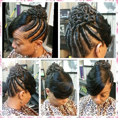 Twist With A Feathered Bangs Flat Twist Hairstyles Flat Twist Updo Black Hair Updo Hairstyles