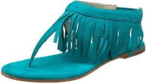 Butter Women\'s Arrow Fringe Thong Sandal ,peacock suede