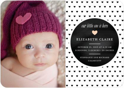 Heartfelt Pattern - Girl Photo Birth Announcements - Good on Paper in a trendy black polka dot heart pattern. #baby