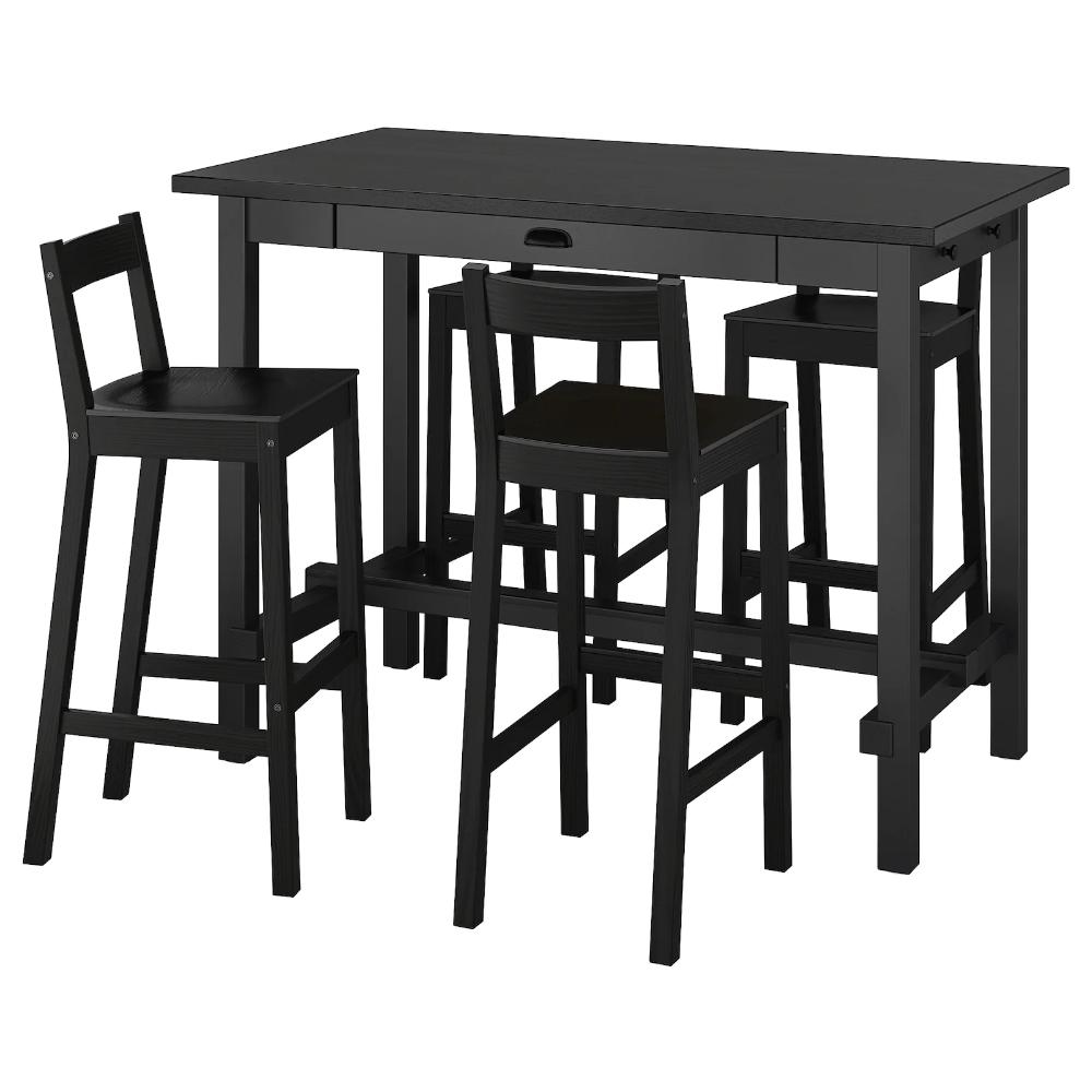 Nordviken Nordviken Table De Bar 4 Tabourets Noir Noir Ikea Table Bar Tabouret De Bar Bar Ikea
