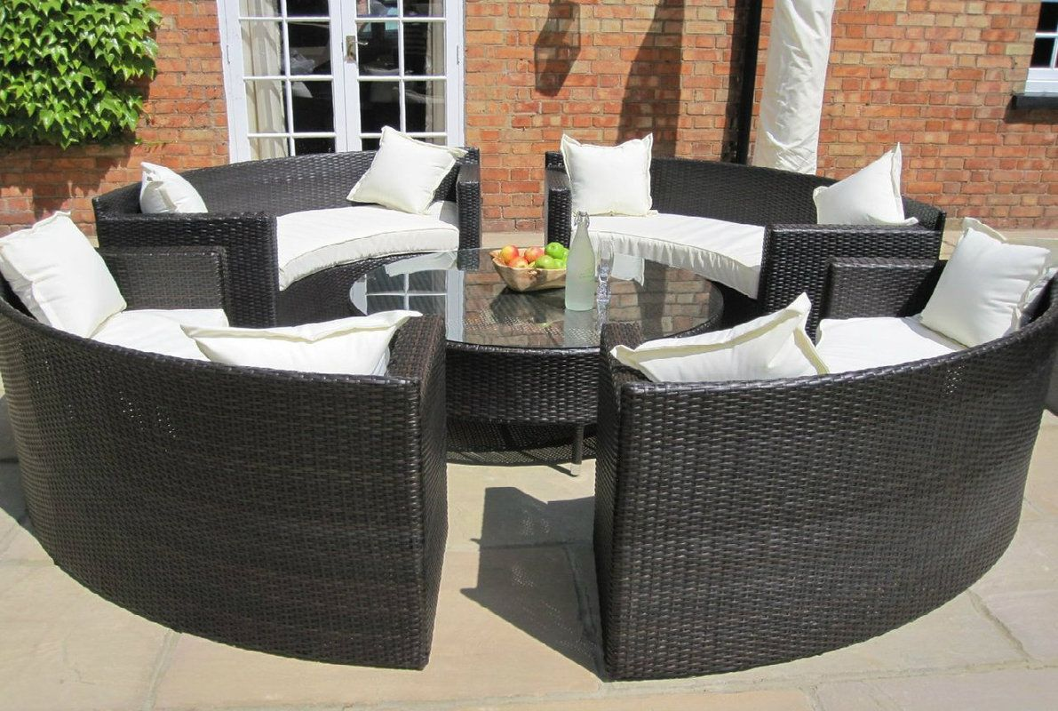 Resistant rattan effect outdoor patio dining set with round table - Oakita Lauren Rattan Garden Furniture Circular Sofa Set