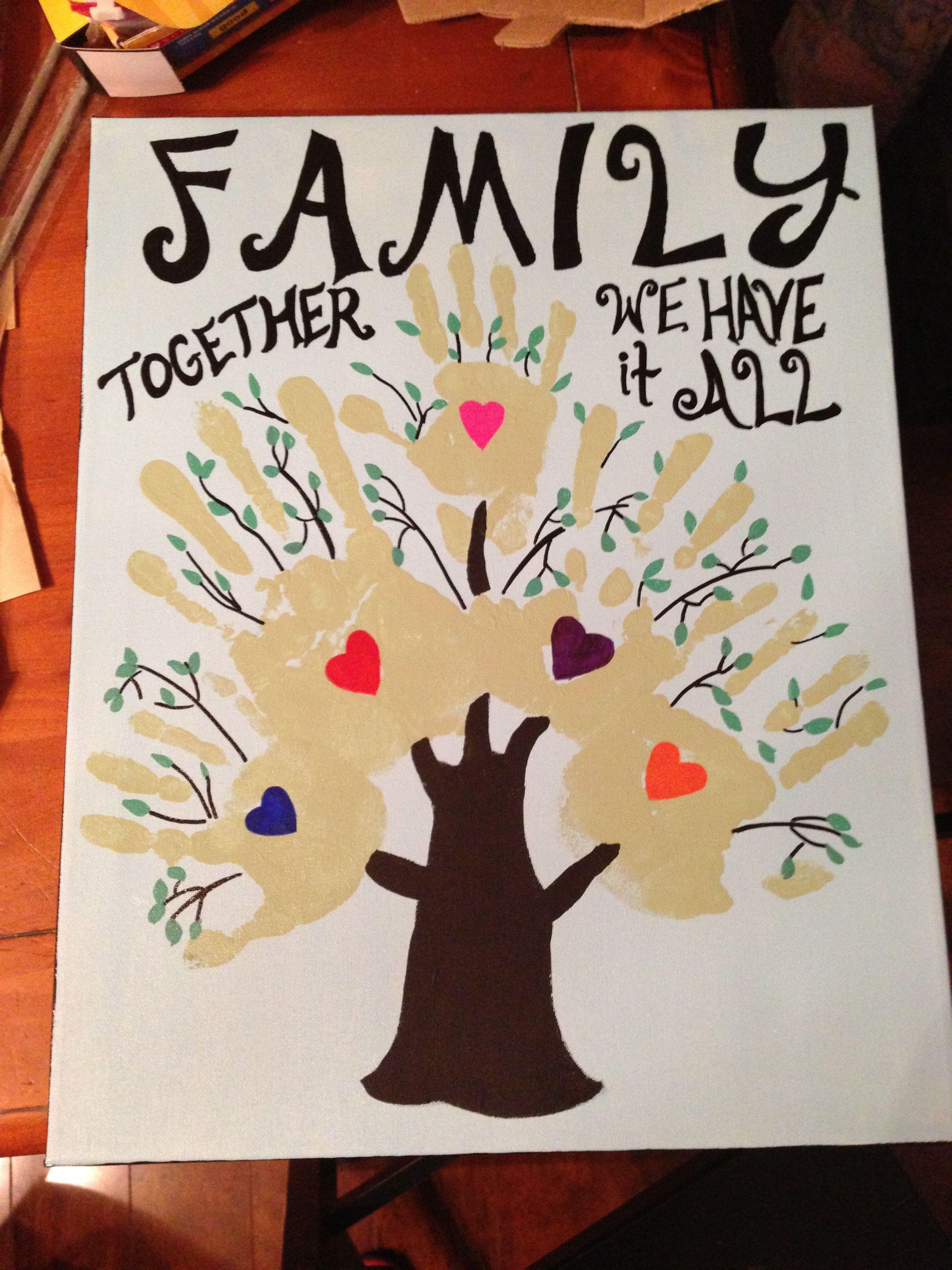 Family handprint on canvas family crafts handprint