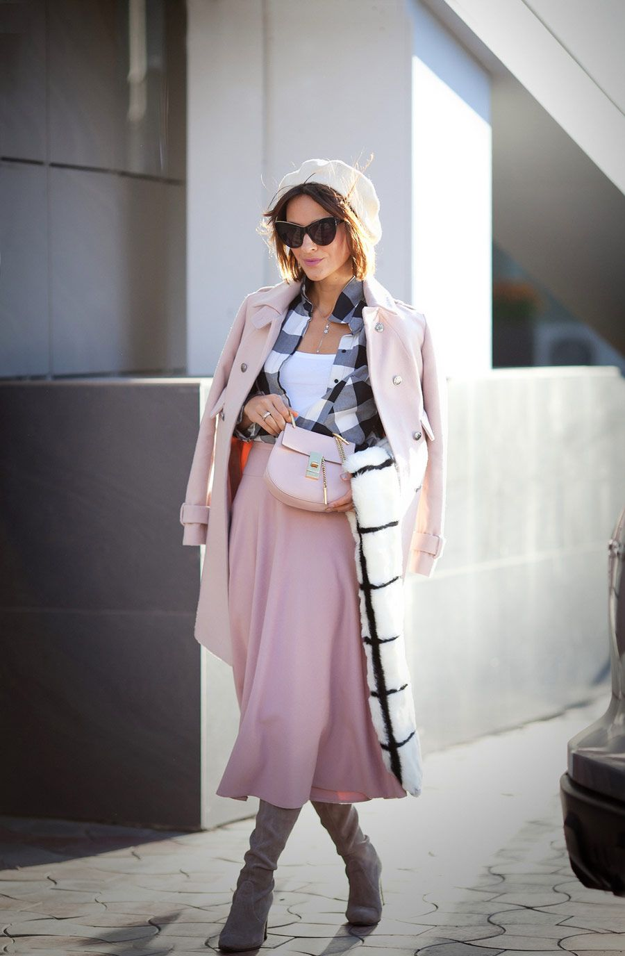 1a2345aef gingham shirt, rose quartz skirt, wool beret outfits, french style, faux  fur scarf outfit, fall outfit ideas,