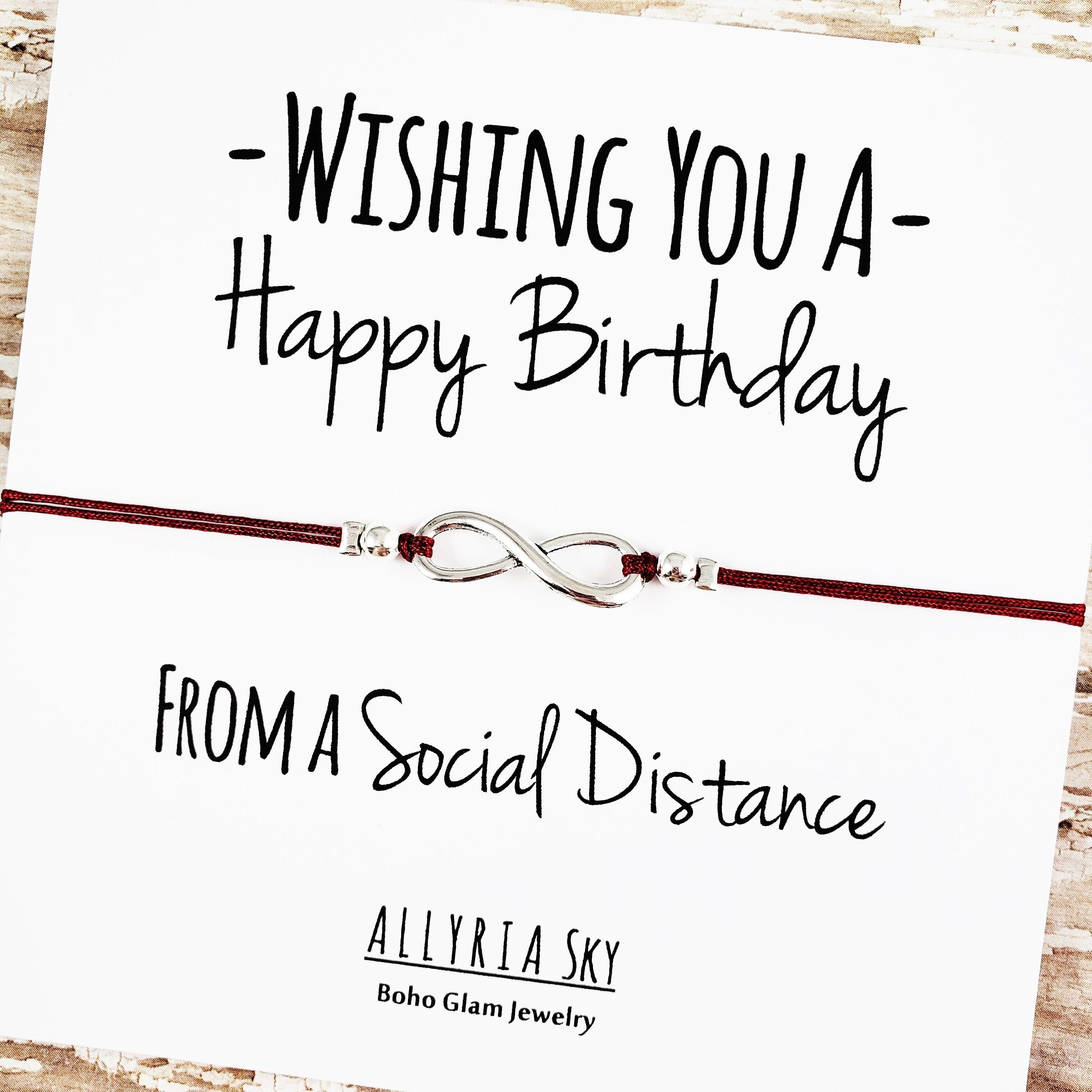 Happy Birthday Social Distance Bracelet And Card Social Etsy Happy Birthday Best Friend Gifts Message Card