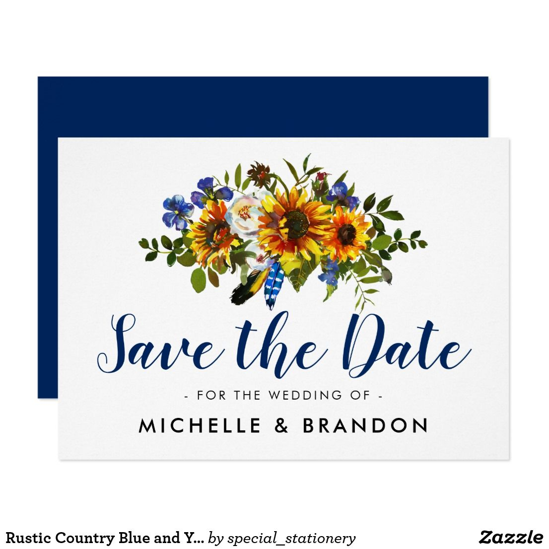 Rustic Country SAVE THE DATE Sunflowers Blue and Yellow Sunflower ...