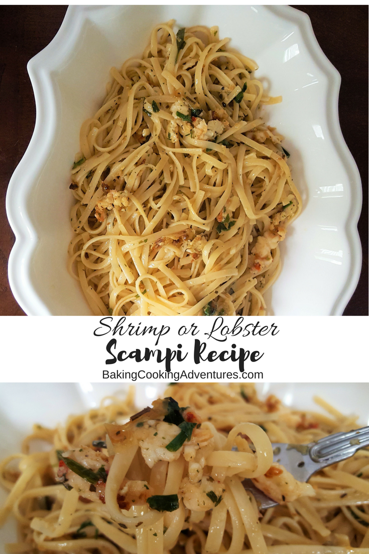 Lobster or shrimp scampi recipe with lemon, garlic, white wine, butter, and herbs.  Comparable to Red Lobster and McCormick seasonings.