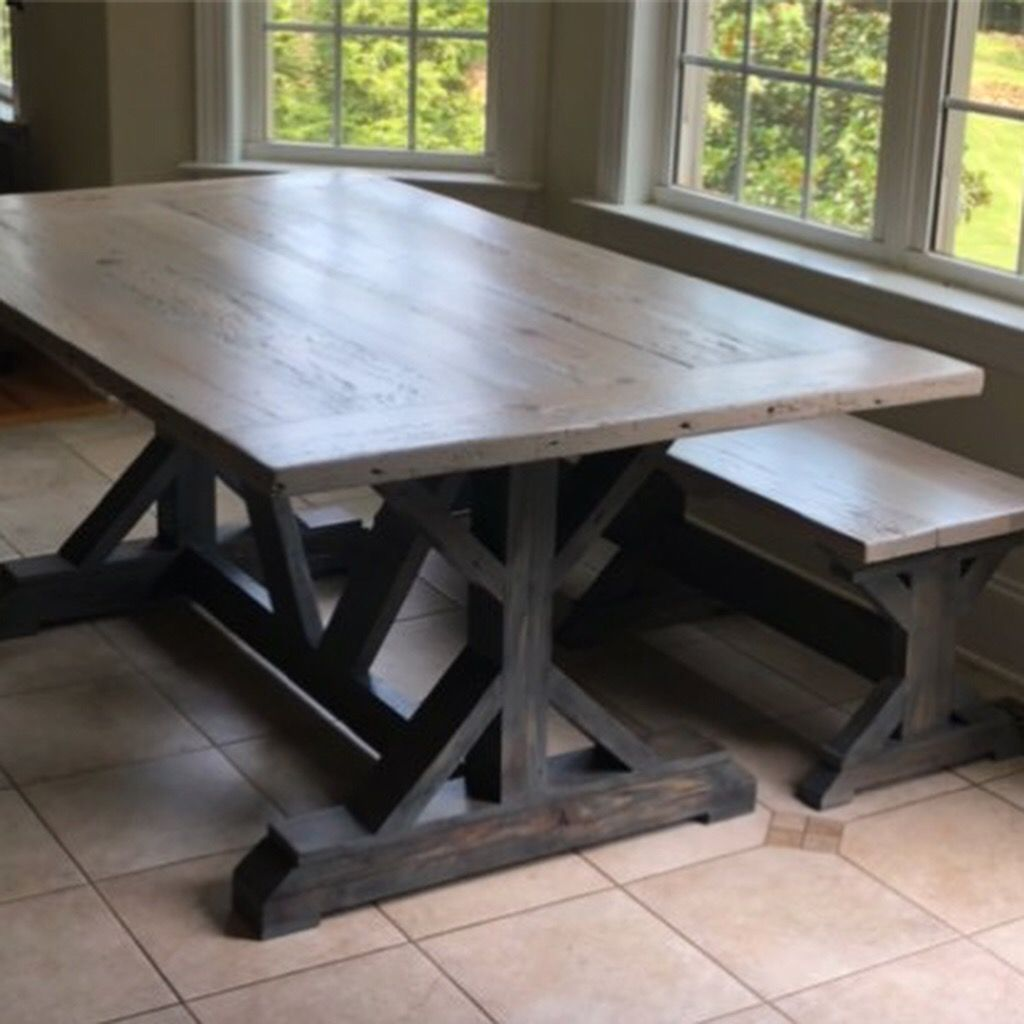 Reclaimed Heart Pine Farm Table & Bench. Gray stained base ...