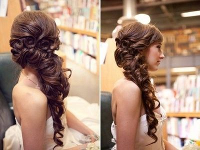 half down, to the side, and curly, pretty up-do...Sarah\'... / make ...