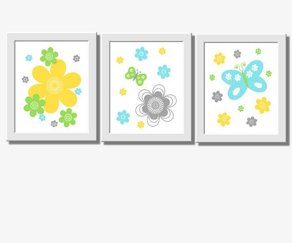 ** CUSTOMIZE THE COLORS TO MATCH YOUR DECOR**    SET OF 3 PRINTS These prints would make a great addition to any Baby Nursery - Childs Room or