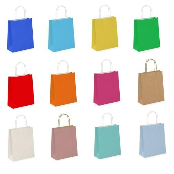 5Pcs Paper Gift Bag Party Bags With Handles Perfect Baby Shower Children's Parties, Birthdays, Weddings Or Picnic