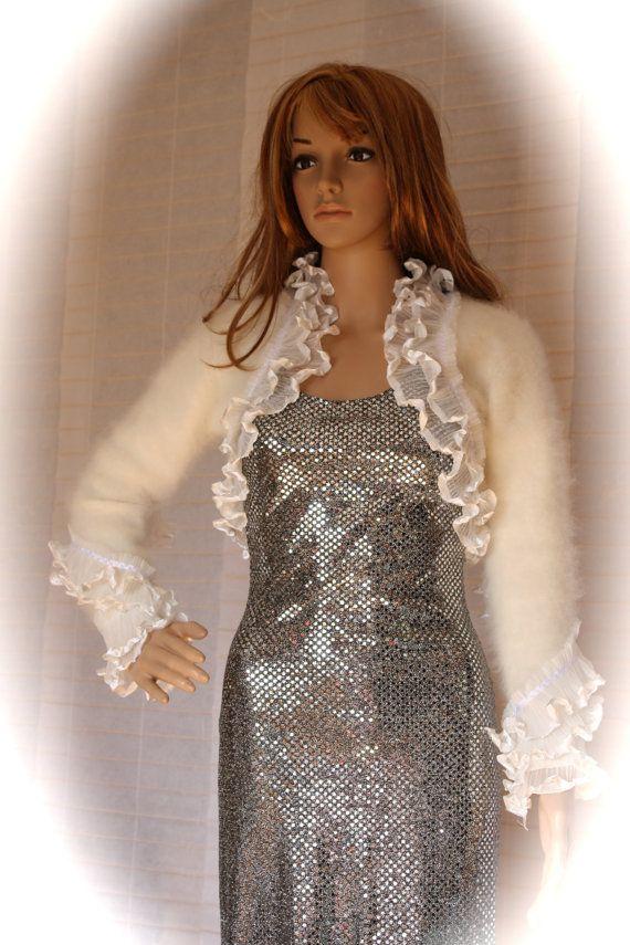 white elegant angora recycled sweater taffeta by VanelDesign, $57.00