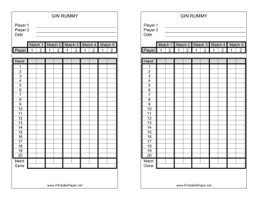 This Gin Rummy Score Sheet Has Room To Record Your Scores While