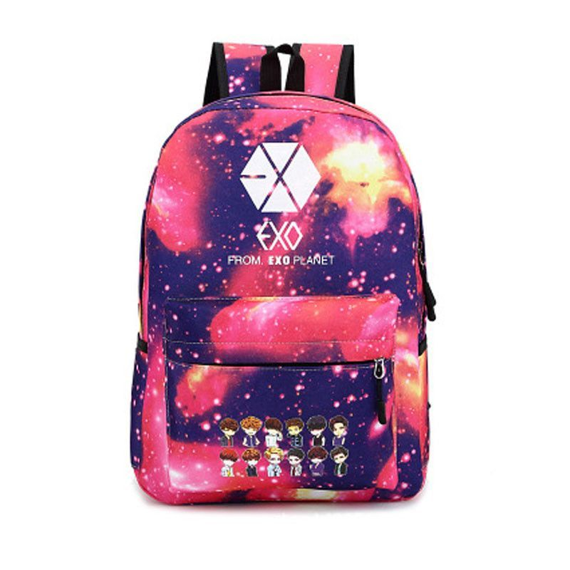 84c8a15ad705 Kpop Idol EXO boy band chibi anime manga style backpack school bag ...