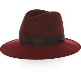 """Rag & bone's Plush wool-felt fedora has been handcrafted by the USA's oldest hat manufacturers '€"""" it took a total of 80 individual processes to complete. We love how the black grosgrain trim perfectly punctuates the tonal burgundy and claret hues. Wear yours with everything from knitwear to tailoring. Shown here with: Chloé Sweater, Stella McCartney Coat. Burgundy and claret wool-felt. 100% wool. Spot clean. #youhabit #93q24rf7Y"""