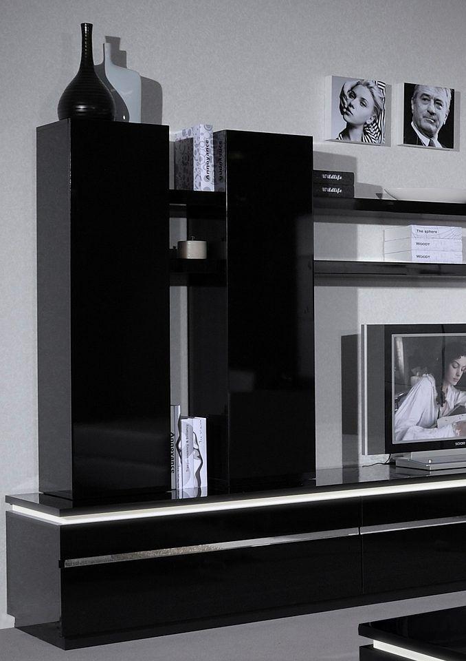 Wandelement in 2 Farben schwarz, pflegeleichte Oberfläche, Sciae - wohnzimmer schwarz
