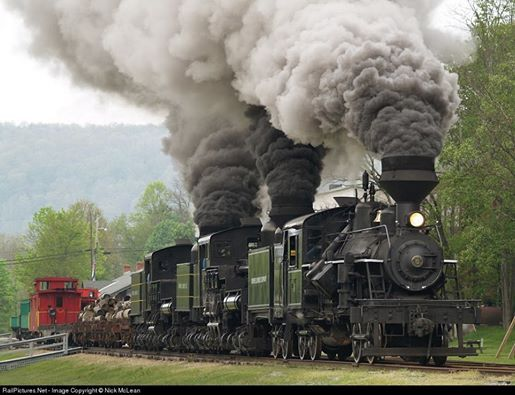 Cass Scenic Railroad tripleheaded steam is an impressive sight, even when only moving at ten or so miles an hour. Photo by Nick McLean. 5/12/07