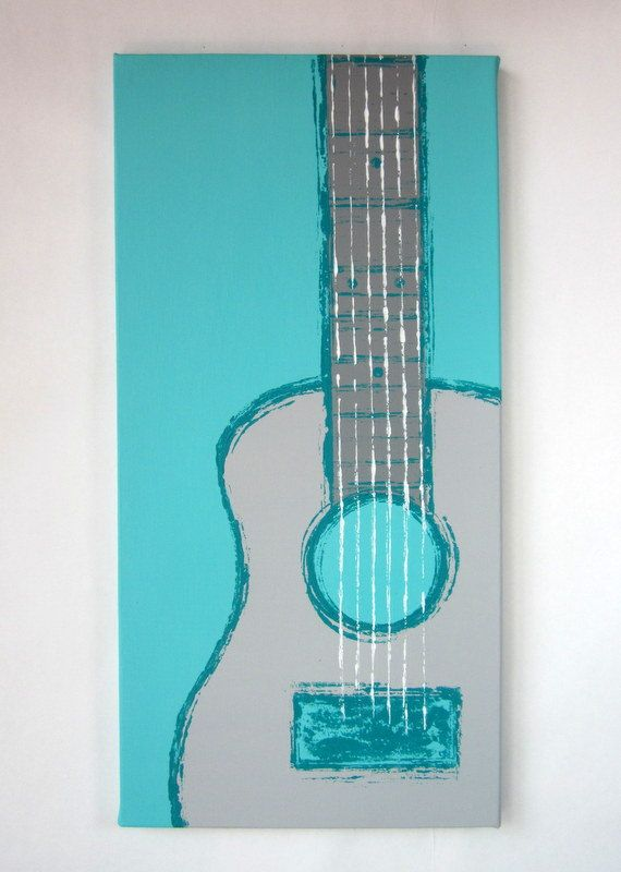 Guitar Teal Grey White Handpainted By Kate Zitzer