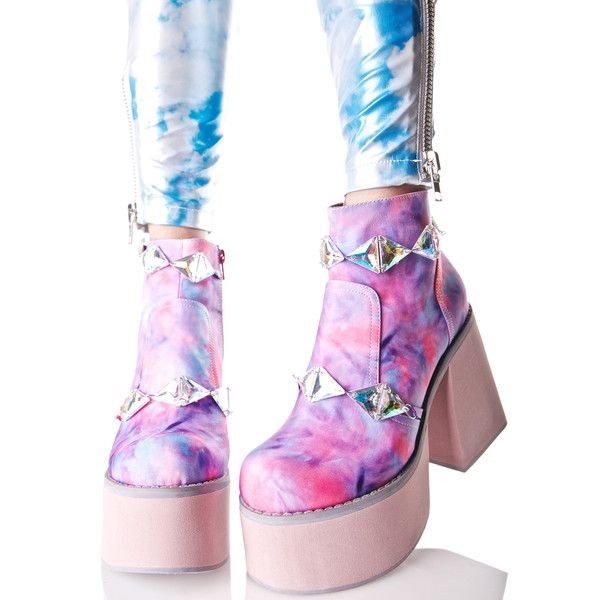 Y.R.U. Pastel Vida Platform Booties (200 NZD) ❤ liked on Polyvore featuring shoes, boots, ankle booties, chunky ankle booties, tie dye boots, round toe boots, wrap boots and zip boots